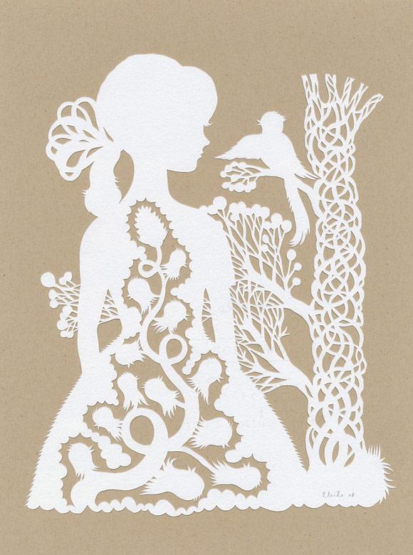 Elsa Mora - Bird Conversation Papercut, Dialogo tra Uccelli scultura di carta