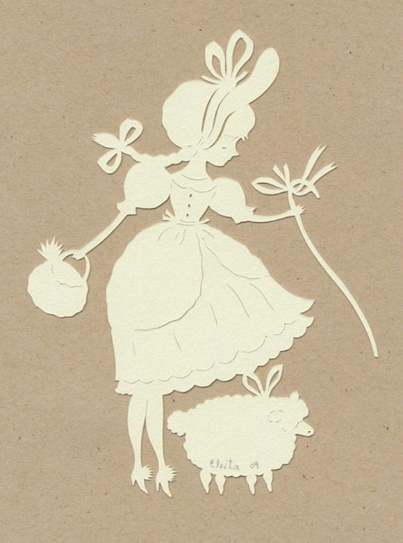 Elsa Mora - Mary Had a Little Lamb Papercut, Mary ha un piccolo agnello scultura di carta