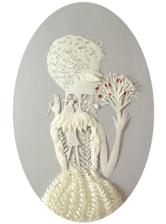 Elsa Mora -Por Dentro Papercut Woman with birds white and red, Donna con Uccelli bianca e rossa scultura di carta