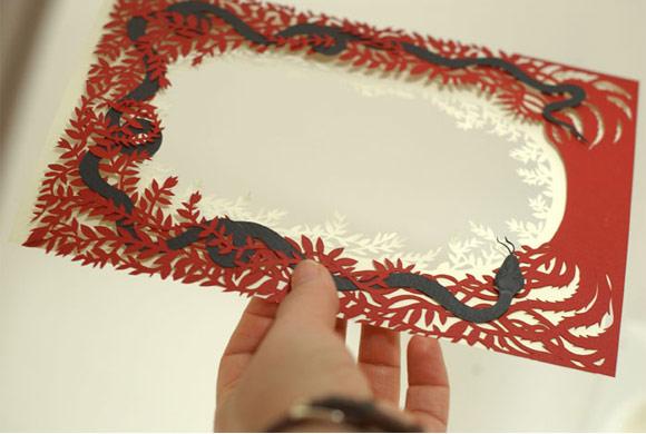 Elsa Mora - Book Cover Design in Progress Paper Sculpture with snake e leaves, Copertina di Libro scultura di carta con serpente e foglie