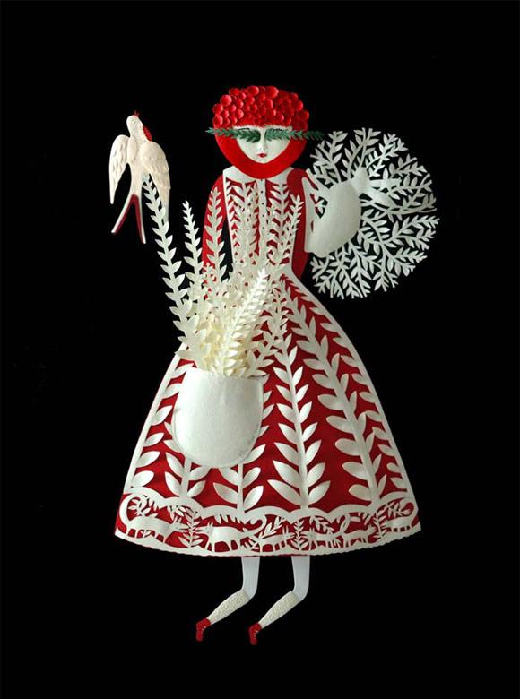 Elsa Mora - Papercut Fern Eyes Woman, Donna dagli occhi di Felce scultura di carta