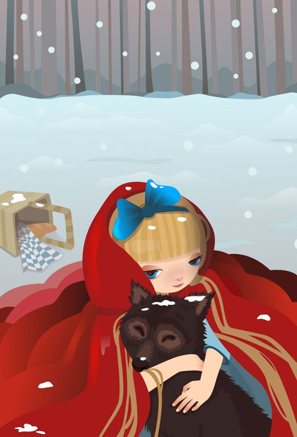 kawaii illustration of Little Red Riding Hood with cute Big Bad Wolf, illustrazione di Cappuccetto Rosso con il Lupo cattivo