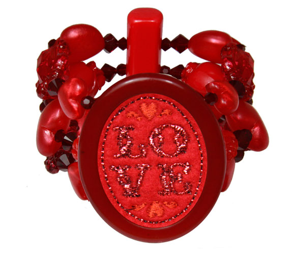 Tarina Tarantino Love red Bleeding Hearts Bracelet kawaii, braccialetto rosso uncinetto