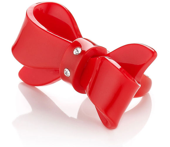 kawaii cute red Plastic Bow Ring, anello a fiocco rosso