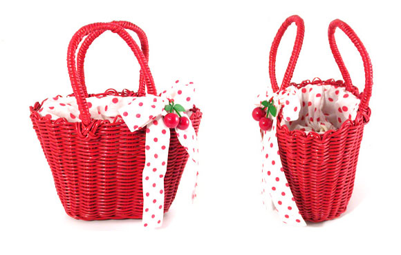 kawaii cute Weave bucket with handle Red Riding Hood, cestino rosso da Cappuccetto Rosso