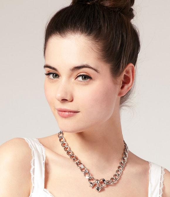 Juicy Couture - Silver Bow Starter Charm Necklace, collana a catena con fiocco
