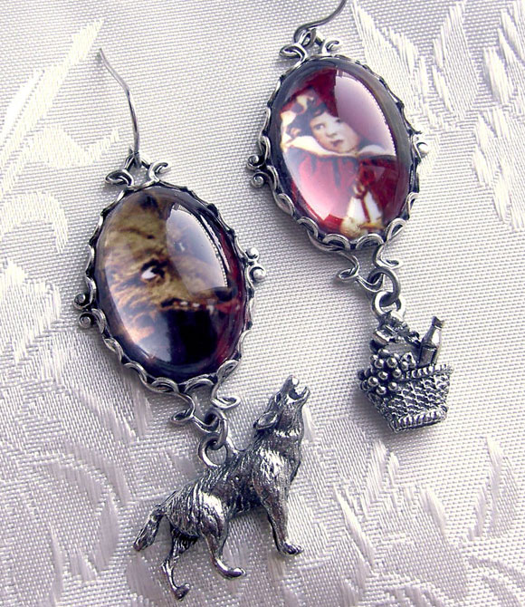 Red Riding Hood and wolf Earrings, orecchini da cappuccetto rosso e il lupo cattivo