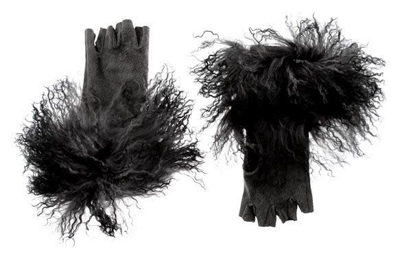 black Mongolian Suede Fingerless Glove, guanti neri con pelo