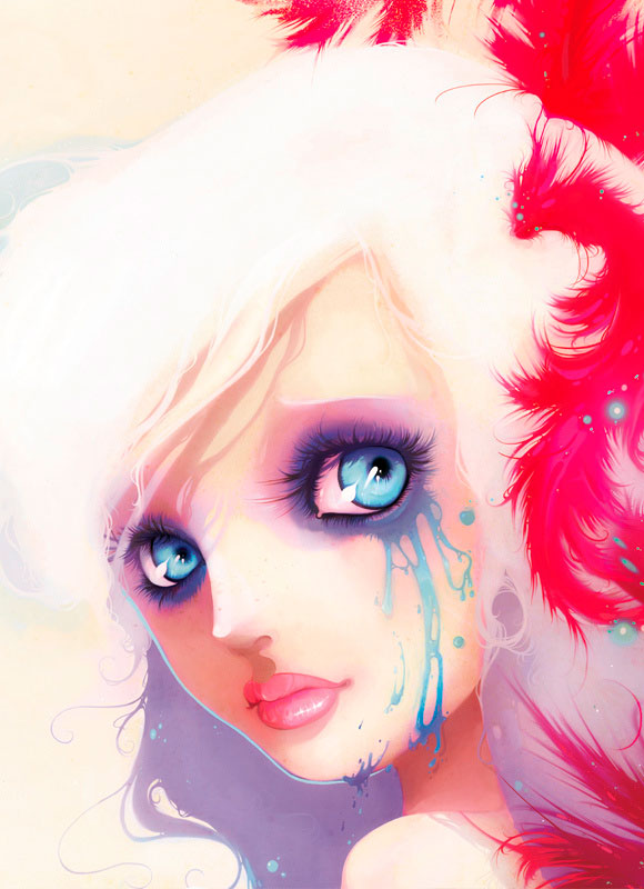 Ludovic Jacqz - The lost key, kawaii cute girl with blue mascara