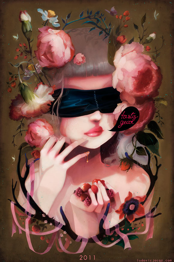 Ludovic Jacqz - So tasty, romantic girl with rose and flower