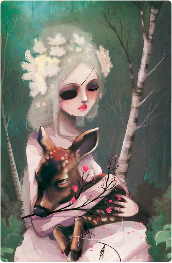 Ludovic Jacqz - The day before the wedding, romantic sad girl with deer