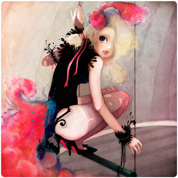 Ludovic Jacqz - The jump, kawaii bird girl