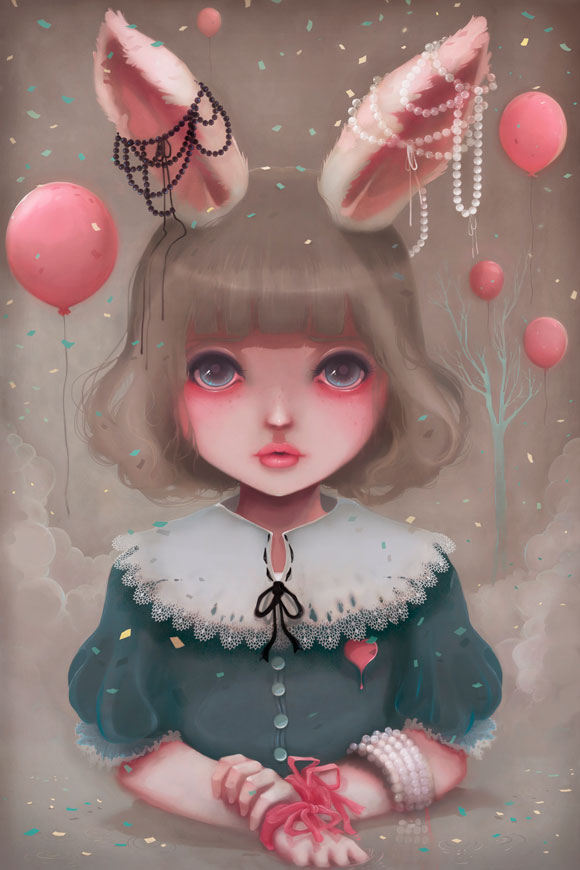 Ludovic Jacqz - Juliette, balloons & pearls, kawaii girl with rabbit ears