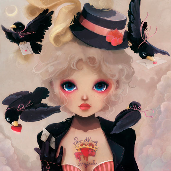 Ludovic Jacqz - Les petits becs, kawaii conjurer girl with crow