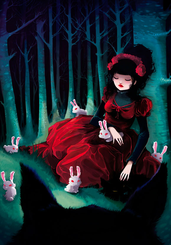 Ludovic Jacqz - Asleep, kawaii red riding hood and big bad wolf in the forest