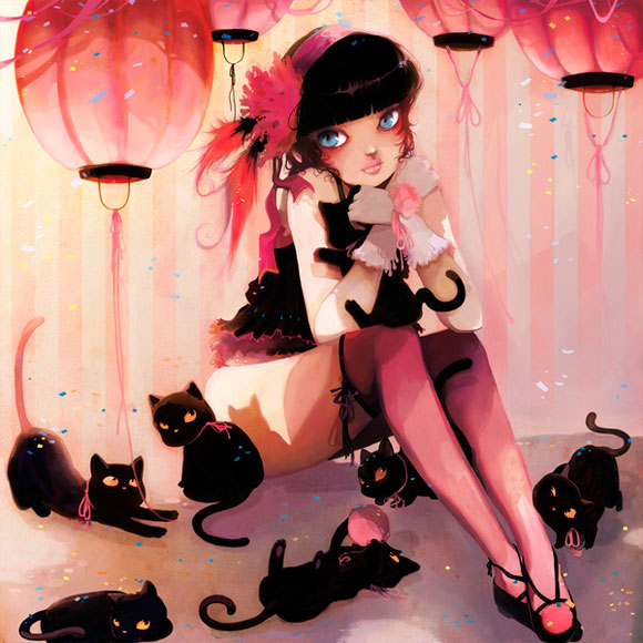 Ludovic Jacqz - Chats et jolis bas, cute kawaii girl with cats
