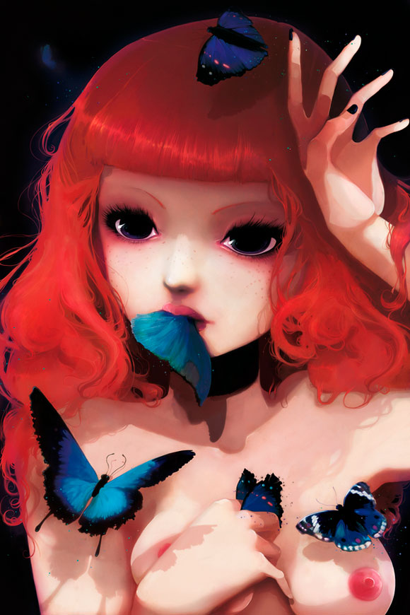 Ludovic Jacqz - Chew my blue, kawaii sensual girl with blue butterfly