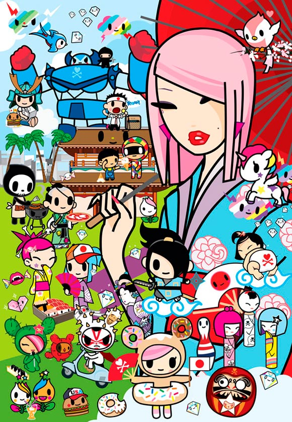 Tokidoki, kawaii painting for #PrayForJapan