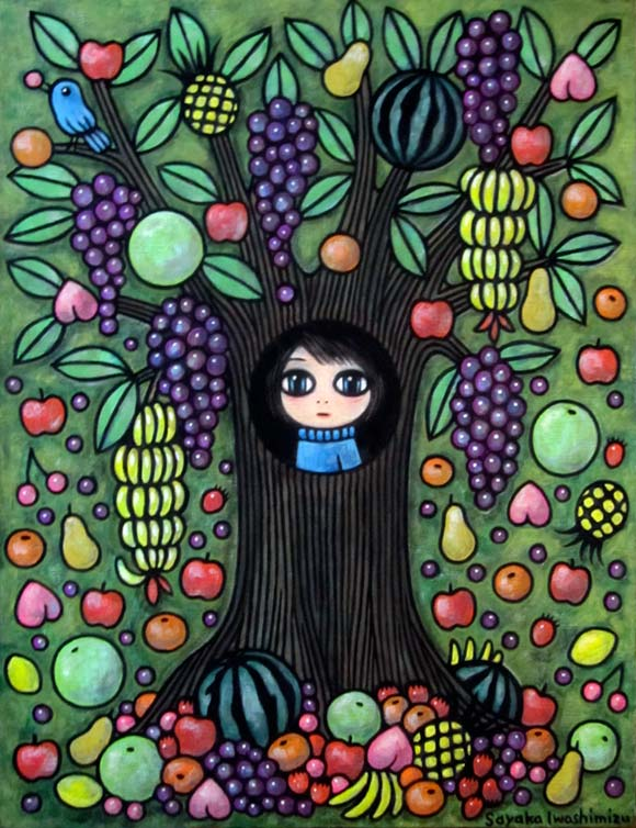 Sayaka Iwashimizu - Anoko's Tree House, kawaii painting for #PrayForJapan