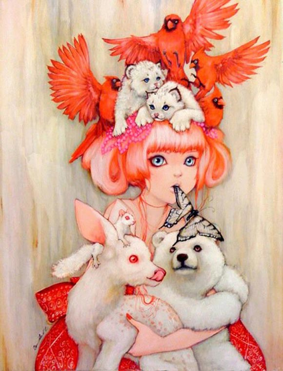 Camilla d'Errico - Canadian Tiger, kawaii painting for #PrayForJapan