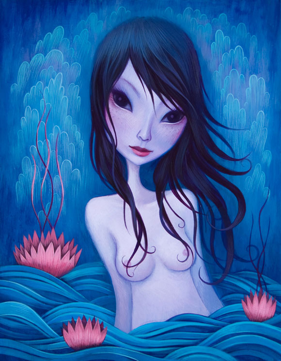 Jeremiah Ketner -  Shallow Seas - Blue Beautiful Woman in the Water - Bellissima Donna Azzurra nell'Acqua