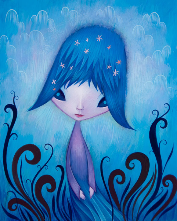 Jeremiah Ketner - I Want To See The World In My Own Way - Blue little elf in a forest - Piccolo elfo blu nella foresta