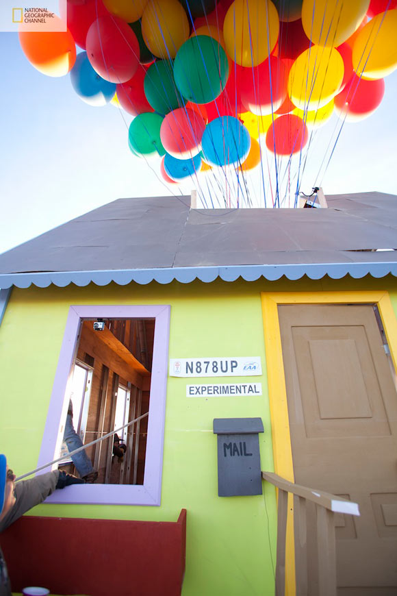 real kawaii flying house of Up Disney Pixar movie, National Geographic Channel - How Hard Can it Be?