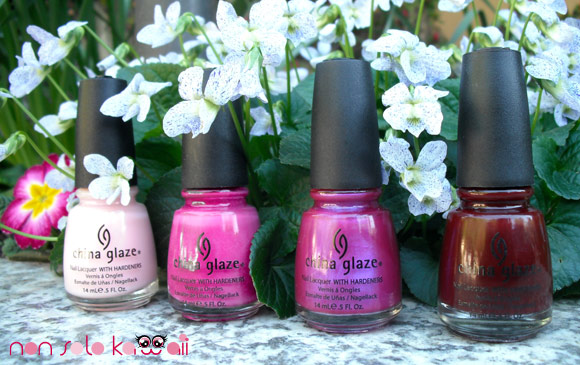 China Glaze: Innocence, Nasty, Reggae to Riches and Ravishing Dahling
