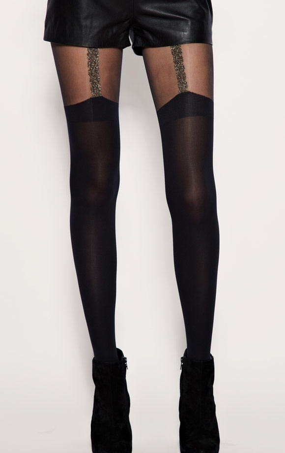 House Of Holland - For Pretty Polly Chain Suspender Tights, calze nere, Nana Osaki