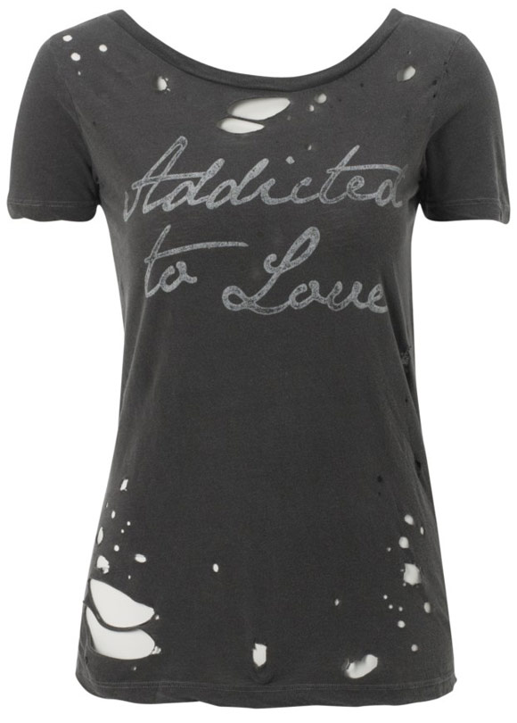 Lipsy - Chaser La Addicted To Love Tee, maglietta nera punk, Nana Osaki