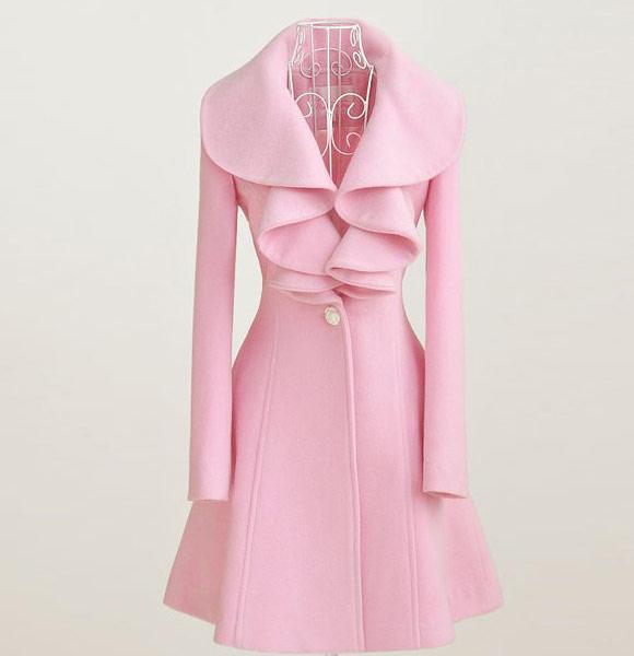 Mili - Large Pink Lotus Leaf Collar Wool Long Coat, cappotto rosa pink kawaii Nana Hachi Komatsu