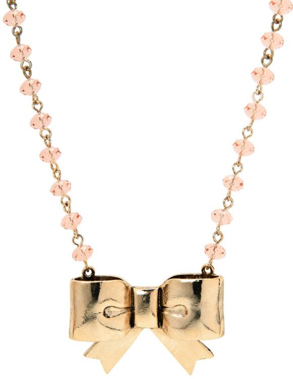Betsey Johnson - Necklace Pink Beads Bow Pensant, collana fiocco kawaii, Nana Hachi Komatsu