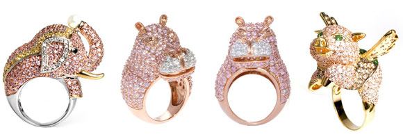 Noir Jewelry - Goldie the Elephant Cubic Zirconia encrusted Pave Pink Elephant Ring, Holly the Hippo Hippopotamus Ring, Fig the Flying Pig Cubic Zirconia Encrusted Flying Pig Ring - Anello Elefante, Ippopotamo e Maialino Volante Rosa Incastonati di Cristalli Rosa - Swarovski