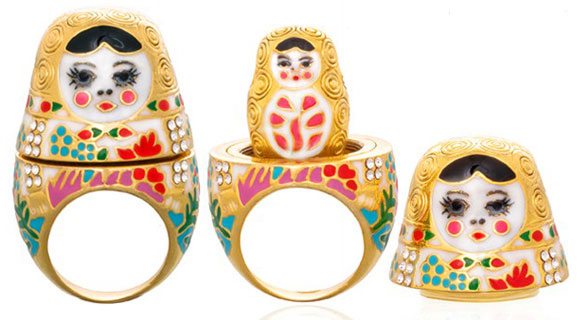 Noir Jewelry -Natasha, Babushka ring inspired by the Matryoshka Russian doll - Natasha anello Babushka ispirato alle Matryoshka - Swarovski