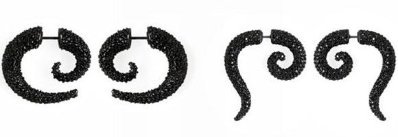 Noir Jewelry -Pave Horn Swirl Earrings, Pave Swirl Faux Pincher - Orecchini Corno a spirale  - Swarovski