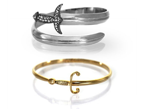 Noir Jewelry - Luciana, Wrap Around Dagger Bracelet & Mercutio, Small Wrap Sword Bracelet - Braccialetto spada e pugnale arrotolato