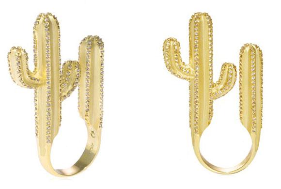 Noir Jewelry - Saguaro Cactus Ring Anello - Swarovski