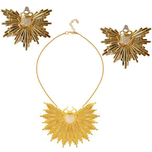 Noir Jewelry - Scarab Sunburst Earrings, Scarab Tailsman Sunburst Necklace - Orecchini e Collana Talismano Scarabeo - Swarovski