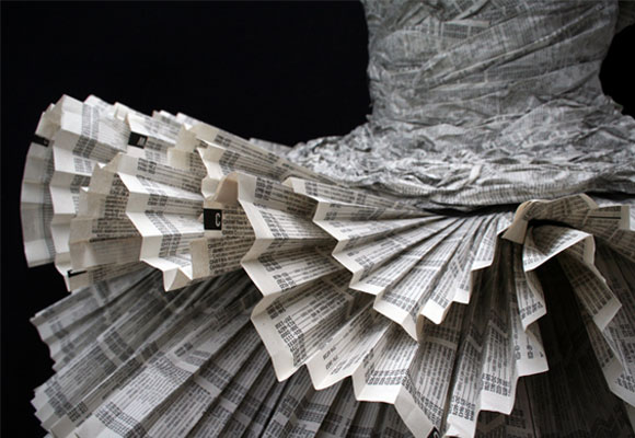 Kelly Murray Jolis Paons, Paper Dress tutu, fashion and recycle paper, moda e reciclo carta