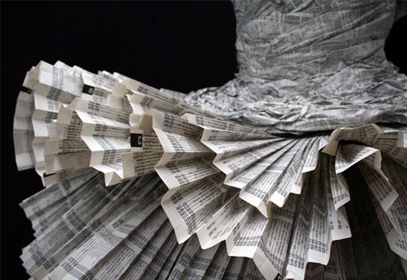 Kelly Murray Jolis Paons, Paper Dress tutu, fashion and recycle paper, moda e reciclo carta