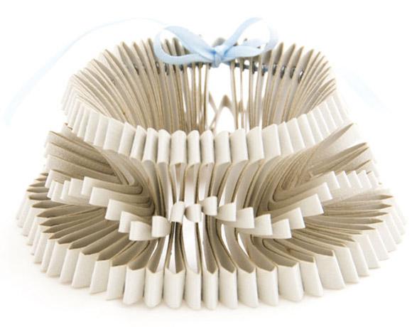 Saloukee, Oblique Paper White Bracelet, Bracciale bianco di carta