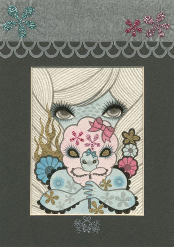 Tiny Trifecta - Junko Mizuno, Mixed Media, Framed