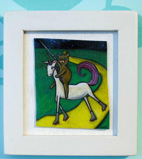 Tiny Trifecta - Leia Bell, Bear with Sword Rides Unicorn on Roller Skates in Oz, Shrinky Dinks