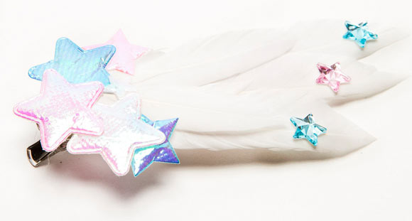 Chubby Bunny Shooting Star Moon Princess Clip, mollette con piume