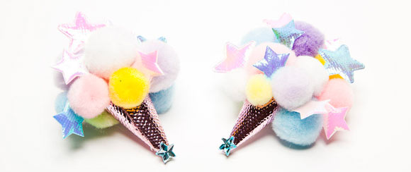 Chubby Bunny Pom Pom Cone from Space!, mollette kawaii