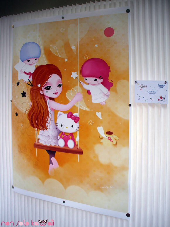 Candy Bird, @Sanrio for Smiles, girls on a swing with Little Twin Stars, Purin and Hello Kitty - ragazza su altalena con Little Twin Stars, Purin ed Hello Kitty