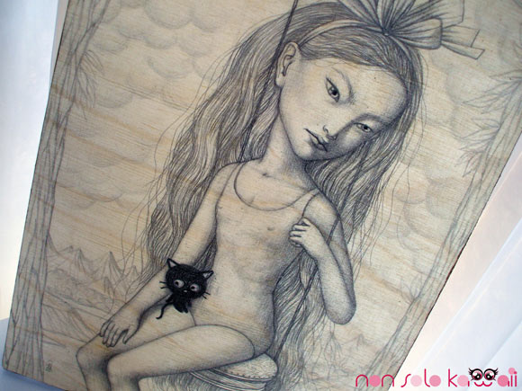 Jana Brike, @Sanrio for Smiles, girls on a swing with Chococat - ragazza su altalena con Chococat
