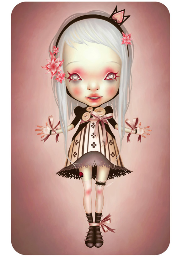 LostFish - Ih! - smiling cute doll with white long hair - bambola dolce e sorridente con i capelli bianchi