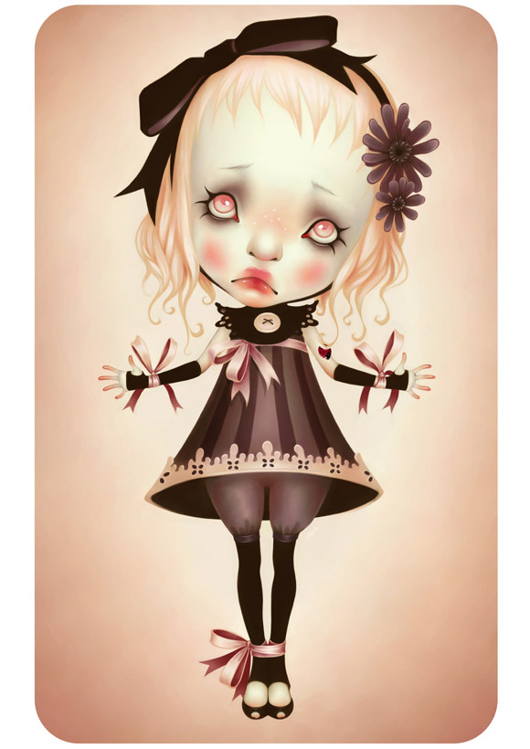 LostFish - Oh! - sad cute doll with blonde curly hair - bambola dolce e triste con i capelli ricci biondi