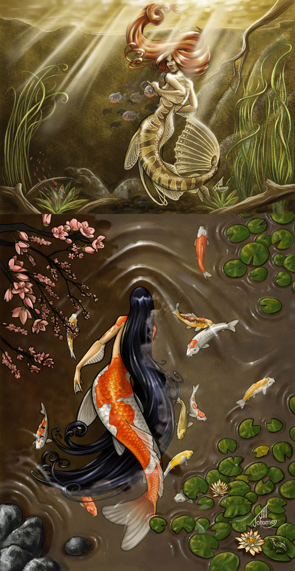 Jill Johansen, Mermaid of the Amazon and Koi Mermaid